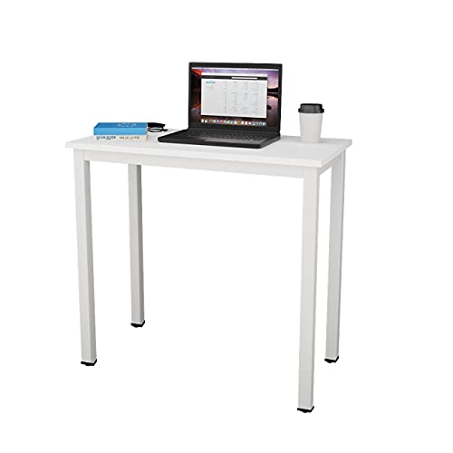 sogesfurniture Escritorios Compacto 80x40cm Mesa de Ordenador Escritorios para Computadora Escritorio de Oficina Mesa de Trabajo Mesa de Estudio de Madera y Acero, Blanco BHEU-AC3DW-8040