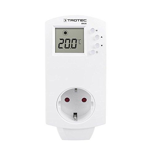 TROTEC Termostato para Enchufe BN30, 5-30 °C, Control de Calefacción y Refrigeración, Interruptor Térmico para la Calefacción por Infrarrojos, Blanco