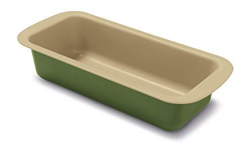Guardini Bnat, Stampo Plumcake 25x11cm, Acciaio con rivestimento antiaderente a base di Cera di Carnauba, Colore verde/beige
