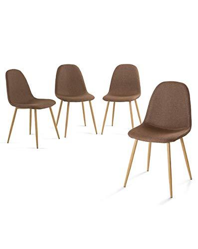 Home Heavenly Pack de Cuatro sillas Comedor, solón Neder, sillas nórdicas, Modelo Vintage tapizadas en Tela y Patas Color Roble - Neder - marrón
