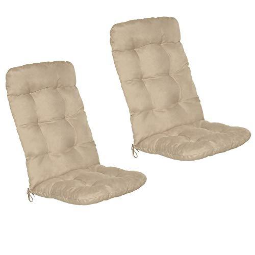 Beautissu Set de 2 Cojines para sillas de balcón Flair HL - Cojín para Asientos Exteriores con Respaldo Alto - 120x50x8 cm - Natural