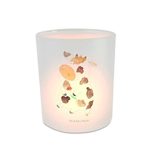 Mr. & Mrs. Panda Teelichthalter, Teelichtglas, Windlicht Kuh - Farbe Transparent