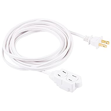 GE 12-Feet Indoor Extension Cord with Tamper Guard, White, 51954