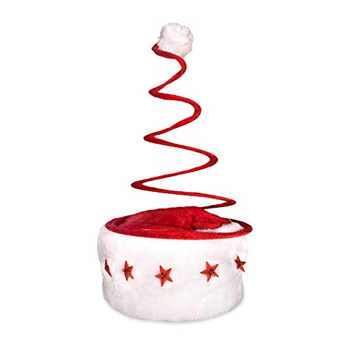 LED Light Up Red and White Festive Christmas Spring Santa Hat for Kids and Adults
