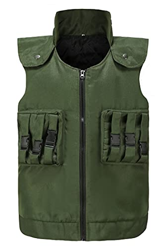 RuuYiicoco Adult Unisex Anime Vest Cosplay Halloween Costume with Accessories (Large, Army Green)