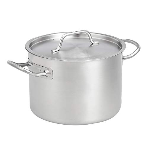 AmazonCommercial 8 Qt. Stainless Steel Aluminum-Clad Stock Pot with Cover