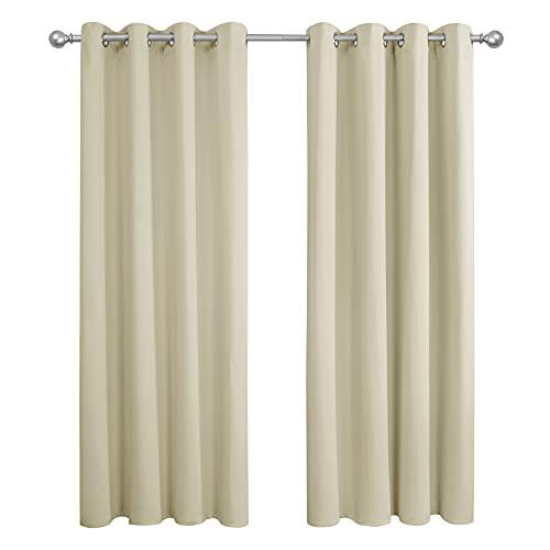 Amazon Brand - Umi Cortinas Opacas Telas Termicas Aislantes Frio Calor Ruido Luz Rayos UV para Salon Dormitorio Conjunto de 2 Paneles 117 x 183 cm Beige
