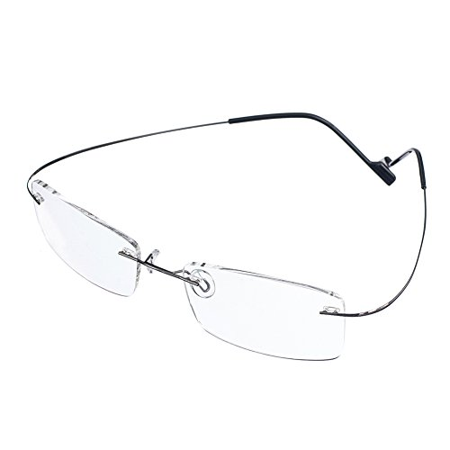 Jcerki Frameless Myopia Glasses Men and Women Nearsighted Glasses -1.00 Strength Fashion Distance Spectacles