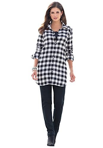 Jessica London Women's Plus Size Long Sleeve Flannel Shirt - 20 W, Black Gingham