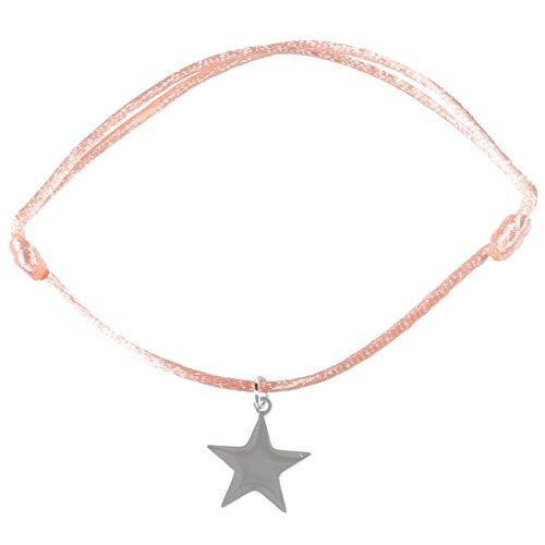 Bracciale fantasia–Cordino cotone rosa corallo–Stella in Acciaio Argento