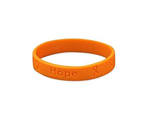 Fundraising For A Cause | Cancer Awareness Leukemia Bracelets - Orange Ribbon Cancer Awareness Rubber Wristbands for Adults (1 Bracelet)