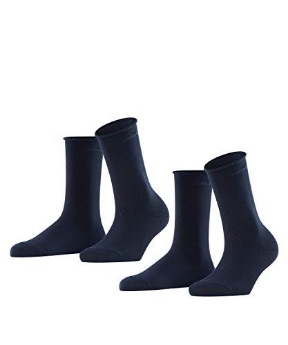 ESPRIT Damen Basic Pure 2-Pack W SO Socken, Blickdicht, Blau (Marine 6120), 35-38 (UK 2.5-5 Ι US 5-7.5) (2er Pack)