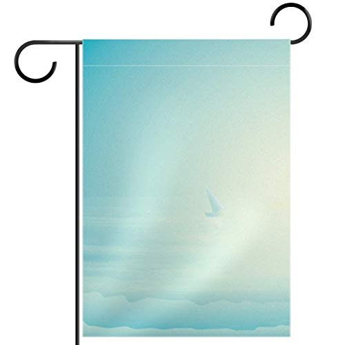 YATELI Garden Yard Flag 12x18 inch Silhouette Mermaid Sitting on The Edge of a Cliff Double-Sided Banner for House Home Outdoor Party Decor