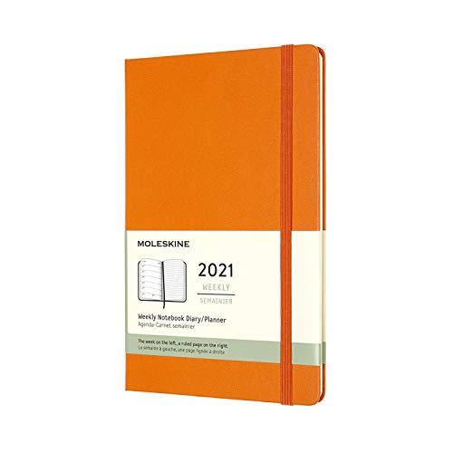 モレスキン手帳2021年1月始まり12ヶ月ウィークリーダイアリーハードカバーラージサイズカドミウムオレンジDHN112WN3Y21