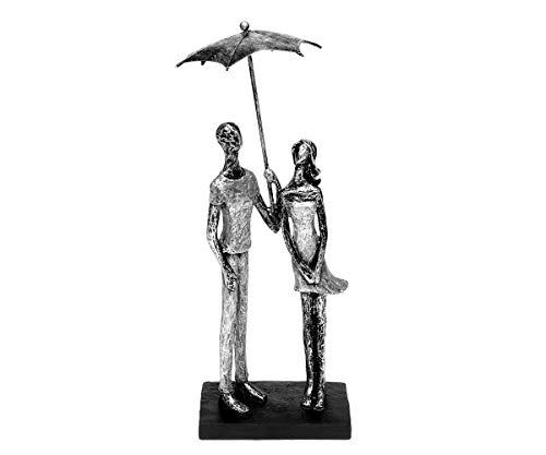 Brillibrum Design Abstrakte Skulpturen Liebespaar Figur mit Regenschirm aus Kunststein Paar Statue Dekofigur