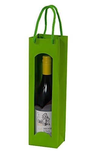 10 Stück/Set. Wein 1er Flaschenbeutel Grün mit Sichtfenster & Tragekordel