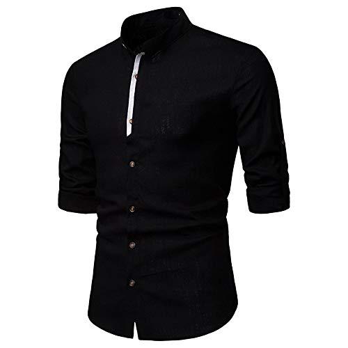 ZYUD Men's Linen Cotton Henley Shirt Long Sleeve Casual T Shirt Slim Top Linen Stand Collar Shirts Men's Blazer Formal Classic Dress Shirt Business Slim Tee Casual Vintage Retro Shirt Black