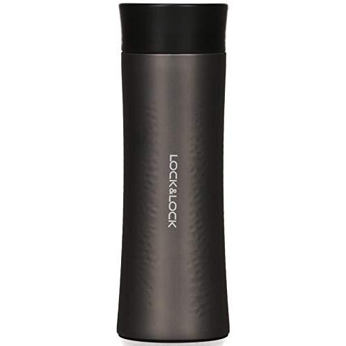 Lock & Lock - Borraccia termica in acciaio INOX, a tenuta stagna, per caffè, tè e freddo, 400 ml, colore: Nero