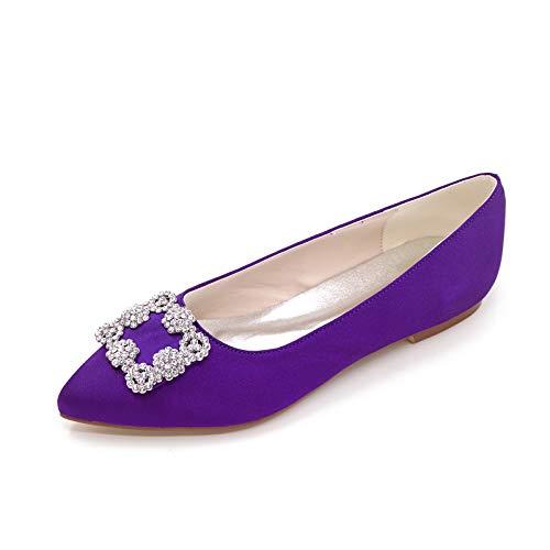 QXue Zapatos de novia para boda, bailarina, satén, puntiaguda, planos, diamantes de...