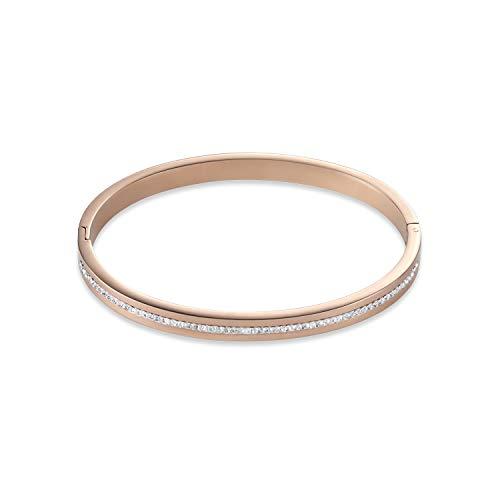 Armband jonc Acier Rose Coeur de Lion cristaux Blancs