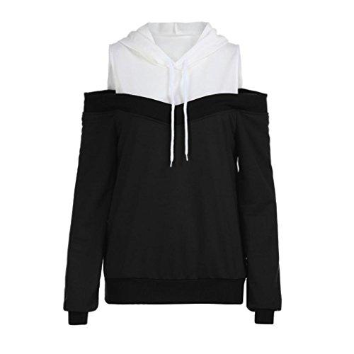 VEMOW Herbst Sommer Cool Damen Damen Schulterfrei Langarm Tägliches Training Dating Hoodie Sweatshirt mit Kapuze Pullover Tops Bluse(Schwarz, 44 DE/XL CN)