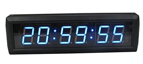 Nuokix Relojes de Pared, 5 '' LED Reloj de Cuenta atrás del Temporizador Digital H: MM: SS Relojes de Pared LED Azul for la sincronización Deporte Evento Decoración hogareña