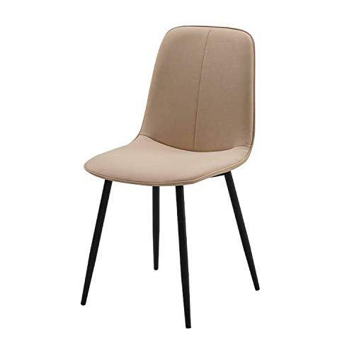 Modern Faux Leather Dining Chairs Back Padded Kitchen Chairs with Black Metal Legs Easy To Install For Dining Room Living Room Office and Lounge (Color : Creamy-White, Size : 1pcs)
