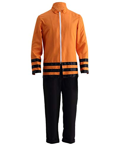 OURCOSPLAY Thev Movie Uzumaki Naruto Boruto Halloween Cosplay Costume 2Pcs Coat and Pants (Men US L(CN 3XL)) Black,Orange