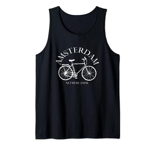 Amsterdam Souvenir T-Shirt Olandese Bike Retro Style Ciclismo Canotta