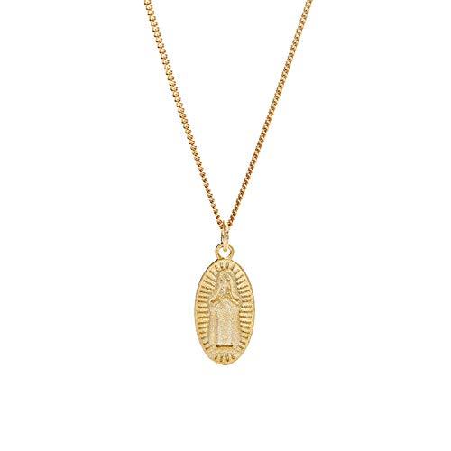Epinki Moda Mujer Accesorios Plata de Ley 925 Mujer Colgante Collar Ovalada Collar Oro