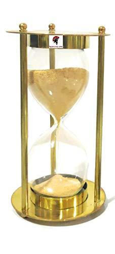 Medieval Epic Vintage Latón Antiguo Reloj de arena amarillo Temporizador de arena Latón Hecho a Mano Náutico Antiguo Marítimo de 5.5 pulgadas pulgadas, 5 Minutos