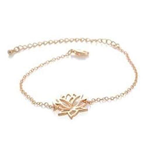 yichahu Pulsera de acero inoxidable con dije de oro para curación de la suerte y flor de loto para mujer, joyería bohemia, delicada cadena de yoga, regalo para mamá
