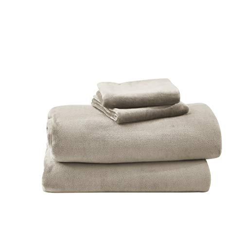 Cozy Fleece Warm and Super Plush Flannel Sheet Set, Taupe, Queen