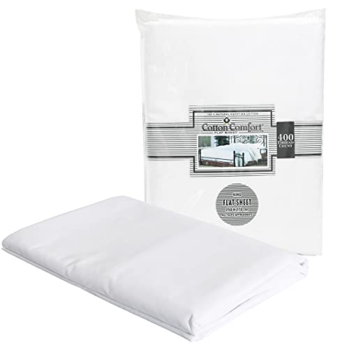 Danny Textiles 400 Thread Count King Size Bed Flat Sheet Egyptian Cotton...