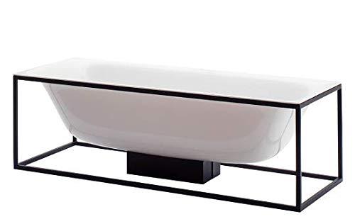 Bette Lux Vorm rechthoekige badkuip vrijstaand 180x80x45cm, 2 rugleuningen, 3452-, Kleur: Zwart - 3452-056