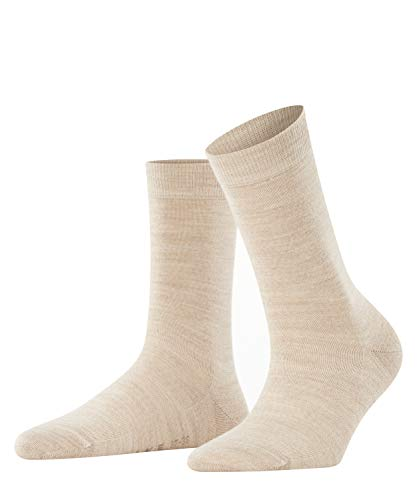 FALKE Damen Softmerino W SO Socken, Blickdicht, Beige (Linen Melange 4549), 37-38
