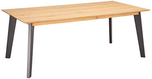 Ibbe Design Rechteckig Ausziehbar Esstisch 200x100 Natur Geölt Massiv Eiche Grau Lackiert Holz Esszimmer Tisch Sentosa, 200x100x75 cm
