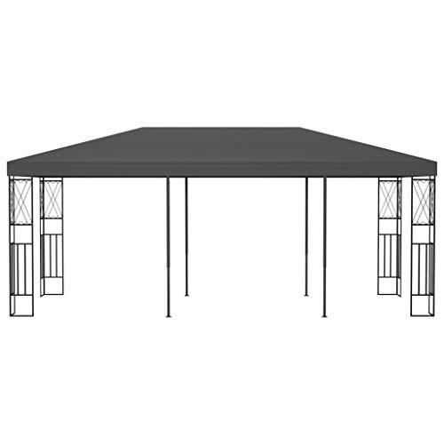 Ksodgun Pabellón, Pergola Cenador Exterior de Fibra de poliéster Antracita 6 x 3 x 2,6 m -con Marco Decorativo en Forma de Cruz