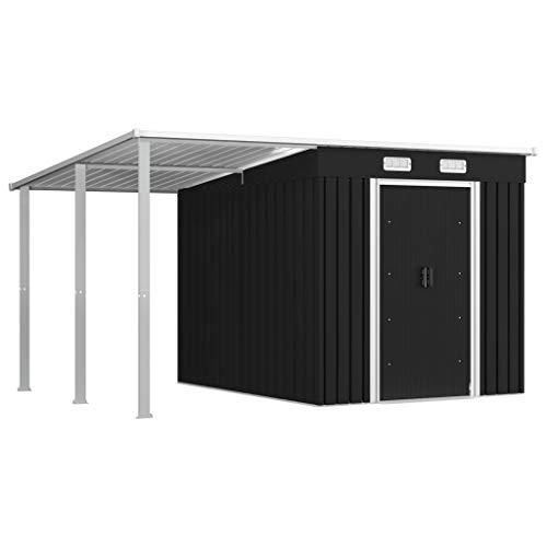 vidaXL Geräteschuppen mit erweitertem Dach Schiebetüren Lüftungsklappen Gerätehaus Gartenhaus Garten Schuppen Anthrazit 335x236x184cm Stahl
