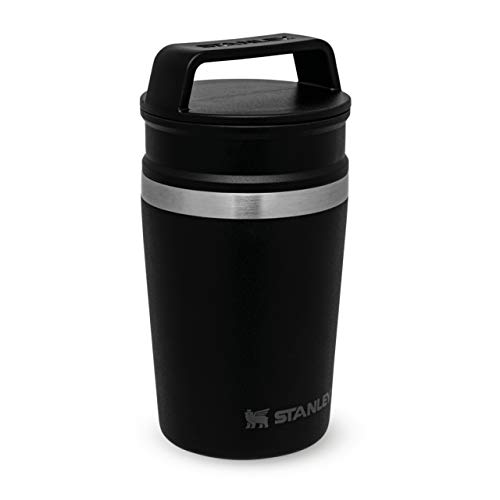 Stanley Adventure Shortstack Travel Mug 0.23L / 8OZ Matte Black – Leakproof - Integrated D-ring to clip on packs - BPA FREE - Single server brewer compatible - Dishwasher safe - Lifetime Warranty