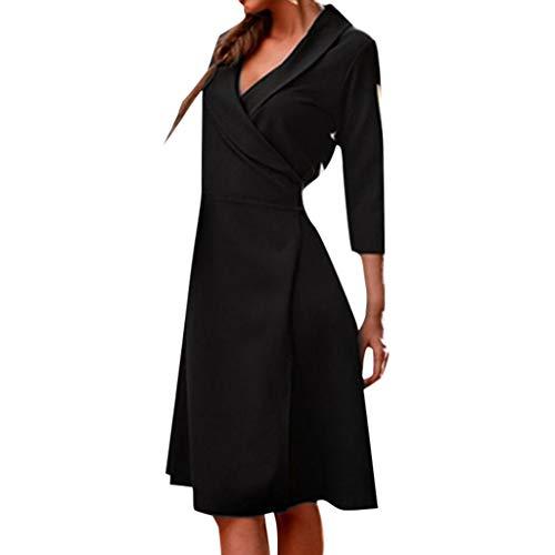 Xmiral Kleid Damen Umlegekragen 3/4-Arm Einfarbig Mantel Kleider mit Gürtel Mantel Strickjacke Party Abend Cocktail Sommerkleid(Schwarz,L)