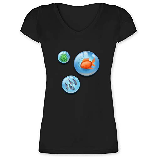 Sonstige Tiere - Aquarium Bubbles Fische - L - Schwarz - Haustier - XO1525 - Damen T-Shirt mit V-Ausschnitt