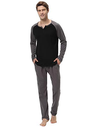 Aibrou 100% Algodón Pijamas Hombre Invierno Mangas Largas