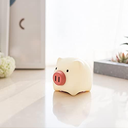 YYHMKB Night Pearl Pig Emotion Lámpara de silicona Regalo Lámpara de ambiente de alimentación para bebés Interruptor giratorio de cabecera Luz de noche Usb