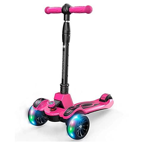 Dream ZX Scooters para niños con Flash en Todas Las Ruedas patinetes Plegables Regulables en Altura, Adecuado para niños de 3 a 15 años (Carga máxima 50 kg) (Color : Pink)