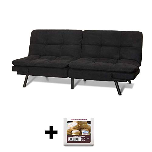 Why Choose Upholstered Memory Foam Futon, Black Suede + Free Vanilla Cookie Crunch Scented Wax Melts
