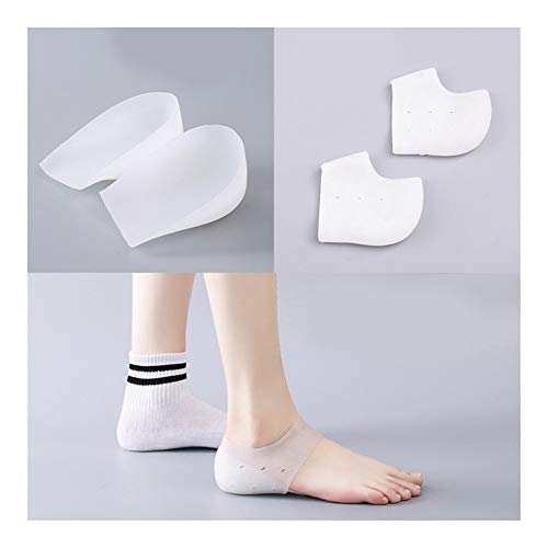 WDSFT Plantillas para Zapatos Desodorante Suela 1 par Aumento de la Altura del talón de la Plantilla Invisible Ascensor Almohadillas de Silicona movibles del Gel Calcetines for Hombres Mujeres