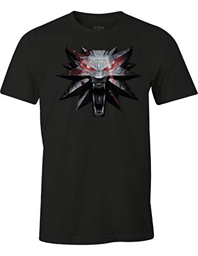 Tshirt The Witcher 3 - Wolf Medaillon - Noir Homme - Small