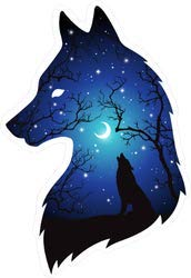 Silhouette of Wolf Moon and Stars Double Exposure - Vinyl Sticker - Bumper Sticker Walls Laptops Trucks - Graphic Sticker