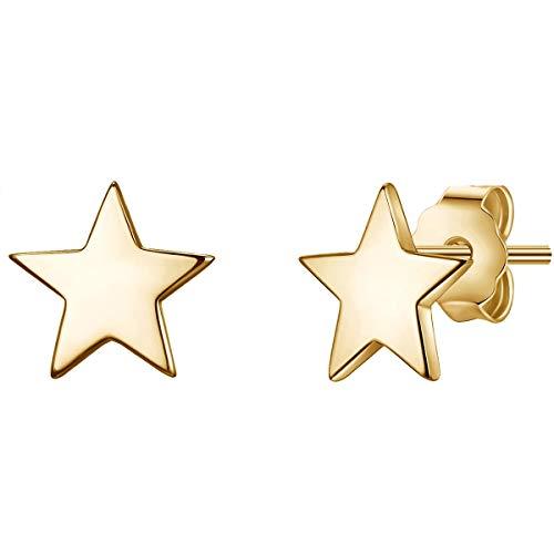 Glanzstücke München Damen-Ohrstecker Stern Sterling Silber 925 gelbvergoldet - Ohrhänger Sterne in Gelbgold-Farben